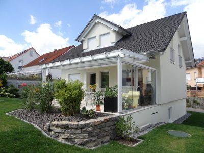 Terrassendach Holz mit Seitenverglasung und Glasdach